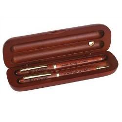 Set stilou si pix din lemn de trandafir cu gravura laser