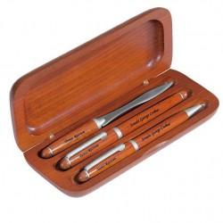 Set stilou pix si cutit pentru scrisori din lemn de trandafir  cu gravura laser